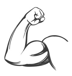 Arm bicep strong hand icon cartoon hand drawn vector
