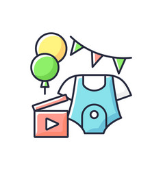 Baby shower party video rgb color icon vector