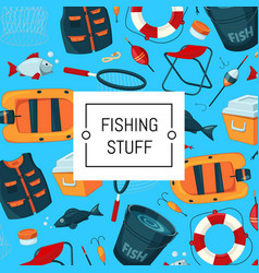 background cartoon fishing equipment vector image