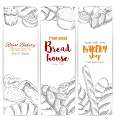 Bakery shop bread house sketch banners set vector