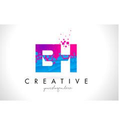 Bh b h letter logo with shattered broken blue vector