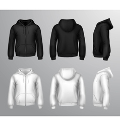 Black And White Male Hooded Sweatshirts vector image