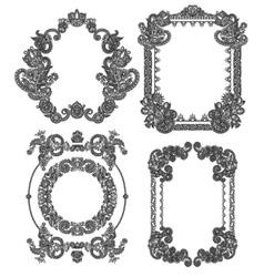 Black line art ornate flower design frame vector
