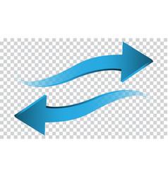 Blue arrow 3d wave direction on transparent vector