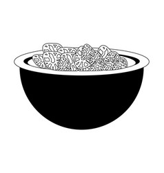Bowl with cereal icon vector