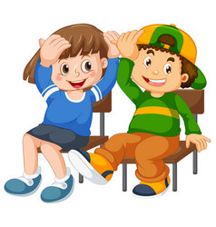boy and girl sit on chair vector image