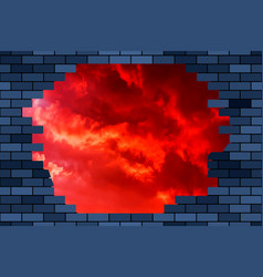 broken brick wall and sky vector image