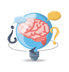 Bulb with brain inside and chat bubbles vector