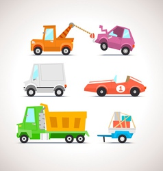 Car Flat Icon Set 4 vector image