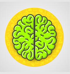 Cartoon green brain sign in yellow circle vector
