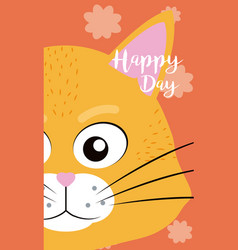 Cat cute animal cartoon card vector