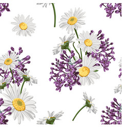 Chamomile camomile leaves and lilac flowers vector