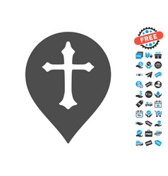 Christian cross marker icon with free bonus vector