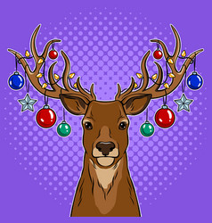 christmas deer with toys pop art vector image