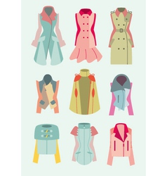 Collection of woman coats and jackets vector