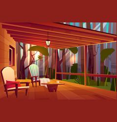 Comfortable country house veranda cartoon vector