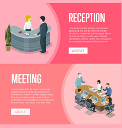 company reception and business meeting banners vector image