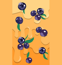 Composition on blueberries with leaves with vector