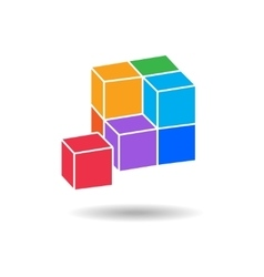 Cube composition icon Perspective view Pyramid vector