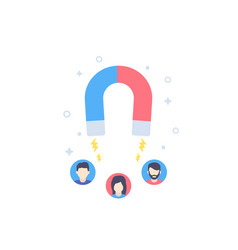 Customer retention icon with magnet vector