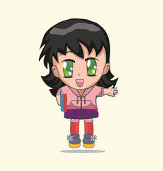 cute anime chibi little girl vector image