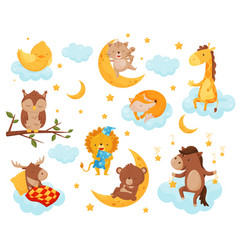cute little animals sleeping under a starry sky vector image