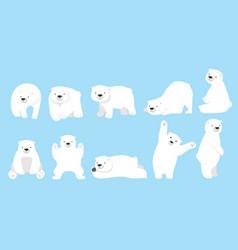 Cute polar bear funny character cartoon set vector