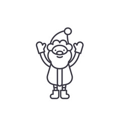 cute santa claus line icon concept cute santa vector image
