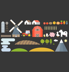 Design elements of farm and barn collection vector