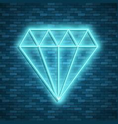 diamond icon in neon style vector image