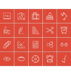 Education sketch icon set vector image
