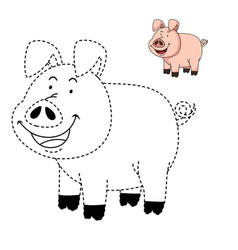 educational game for kids and coloring book-pig vector image