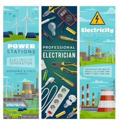 electricity power plants nuclear and eco energy vector image