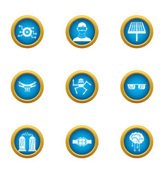 Energy game icons set flat style vector