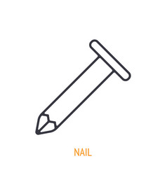 Fastener nail outline icon hand work tools vector