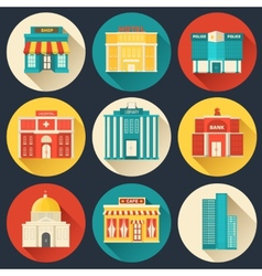 Flat colorful sity buildings set icon vector