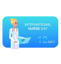 flat happy woman in medical uniform vector image