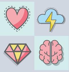 Flat line set icon mental health vector