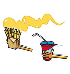 Fresh soda drink and potato snacks vector image