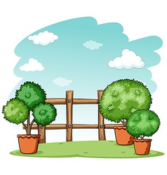 Garden with a fence vector image vector image
