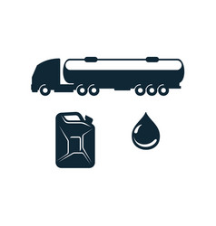 gasoline truck fuel canister oil drop vector image