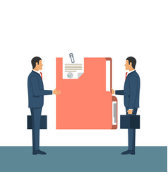 Giving a document two businessmen at meeting vector