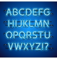 Glowing Neon Blue Alphabet vector image