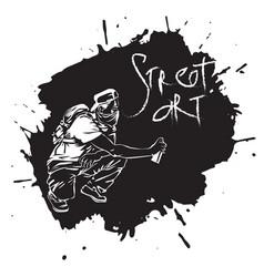 graffiti guy makes street art on wall vector image