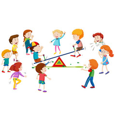 Group of children playing on seesaw vector