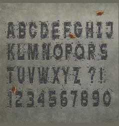 grunge alphabet letters and numbers on concrete vector image