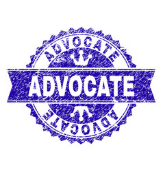 Grunge textured advocate stamp seal with ribbon vector