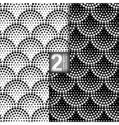 Halftone Petals Tiles Seamless Pattern Set of 2 vector image