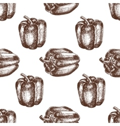Hand drawn seamless of bell peppers vector