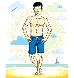 Handsome young man standing on tropical beach in vector